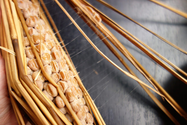 糸を引く藁納豆