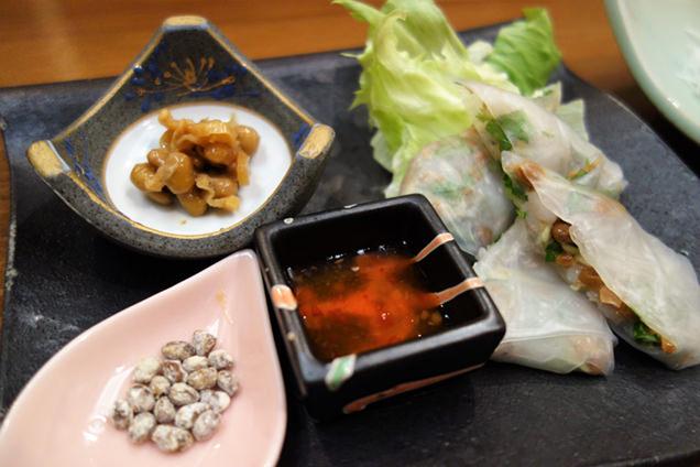山翠 前菜の納豆