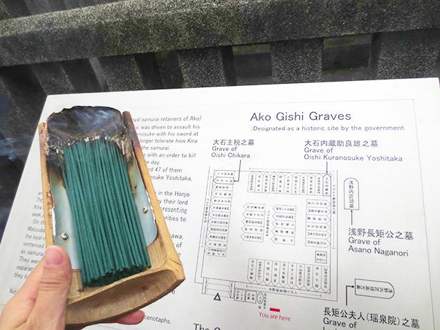 お線香と墓所の地図
