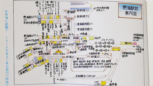 昔の熱海駅前周辺を描いた案内図