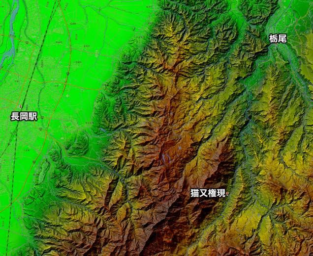 カシミール3Dで作成した猫叉権現の地形図
