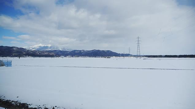 車窓から見える一面の雪景色