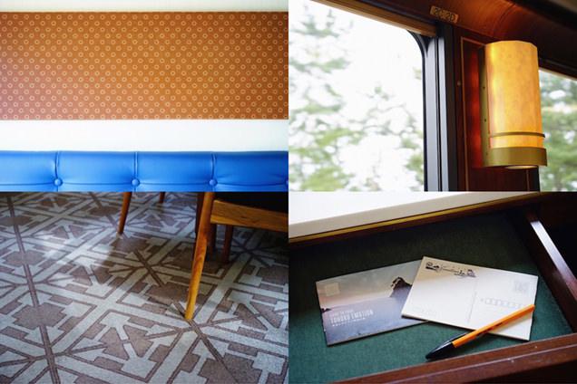 床や壁に東北工芸をモチーフにした装飾が施されている