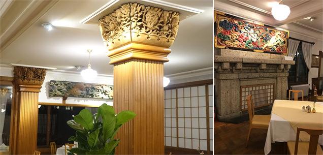 日光金谷ホテル メインダイニング 柱・壁・彫刻