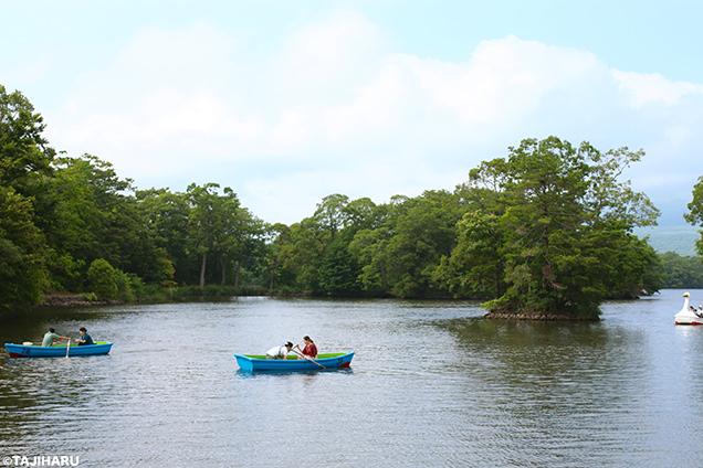 大沼湖畔 ボート