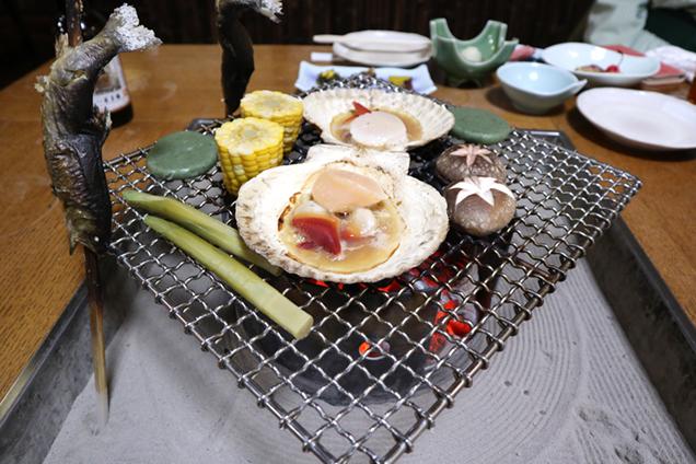 :玉子湯 夕食 囲炉裏料理