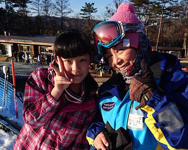 軽井沢スキー学校 長女とインストラクターの先生