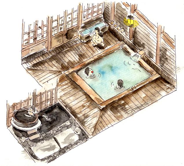 青荷温泉 健六の湯 イラスト