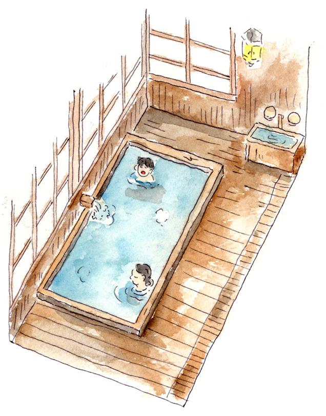 青荷温泉 本館内風呂 イラスト