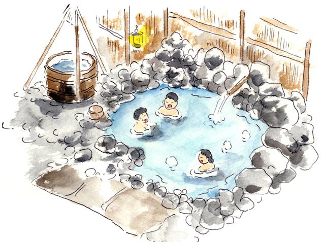 青荷温泉 露天風呂 イラスト