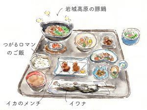 青荷温泉 夕食 イラスト