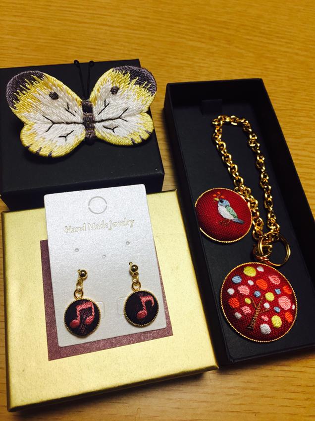 加賀繍IMAI 「♪のピアス」「小鳥のチャーム」「蝶のブローチ」