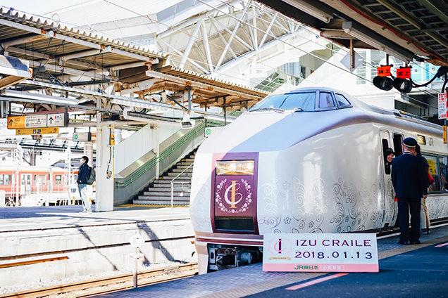自然豊かな景色を眺めながら、伊豆の食材を使用したオリジナル料理やドリンクをゆっくりと味わえるリゾート列車のイメージ
