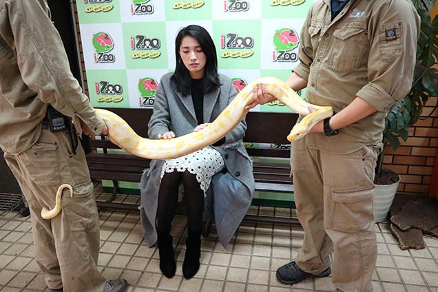 体感型動物園iZooでニシキヘビと記念撮影するライター