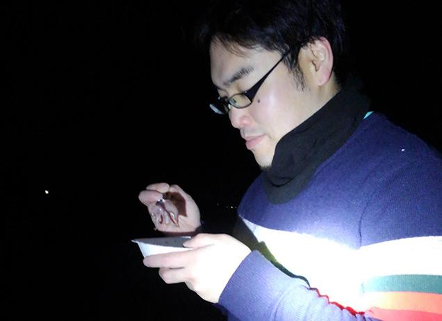 ホタルイカを試食中のライター