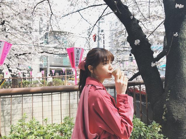 目黒川 桜とライター