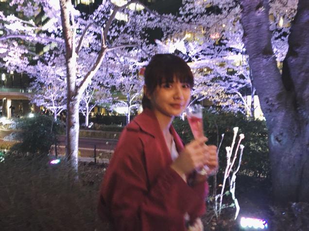 ミッドタウン・ガーデン さくら通り ライトアップされた桜とライター