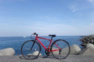 レンタサイクルと伊豆の海