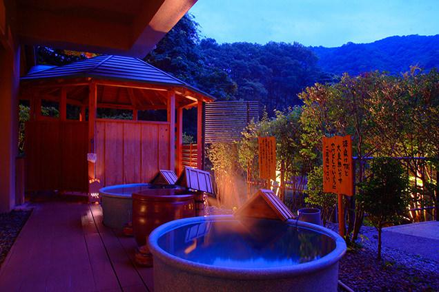 「結びの宿 愛隣館」森の湯の陶器風呂