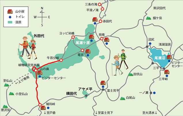 尾瀬MAP 今回のルート