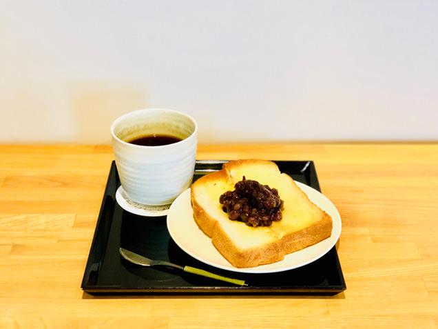 あんこトーストと松下ブレンドのコーヒーのセット