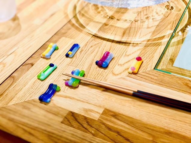 秋田市新屋ガラス工房で買える箸置き