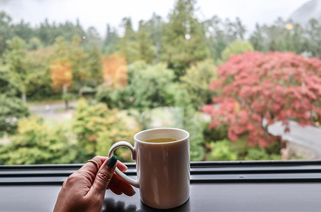 朝、ホテルでコーヒーを持つ筆者の手