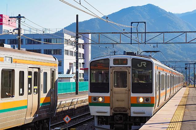 中之条駅に入る吾妻線