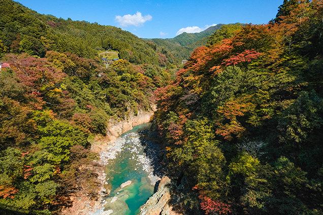 吾妻峡橋から見た渓谷。水の色も独特