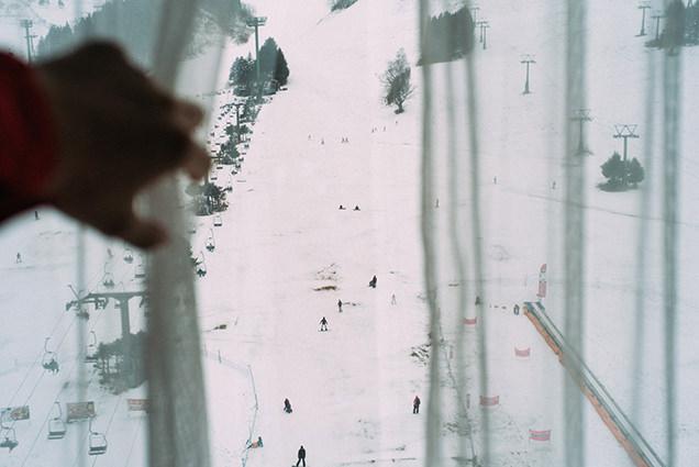 ホテルの部屋から見たゲレンデ