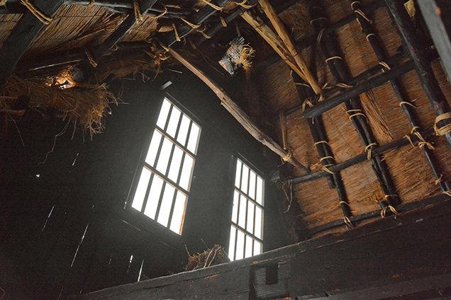 合掌造りの内部の2屋根裏