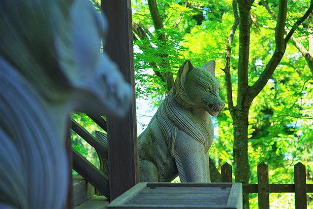 大口真神社の狛オオカミ
