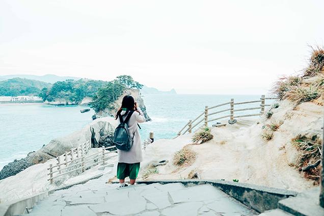 堂ヶ島の遊歩道からの景色