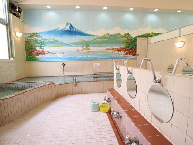 真っ青な富士山が描かれた男湯