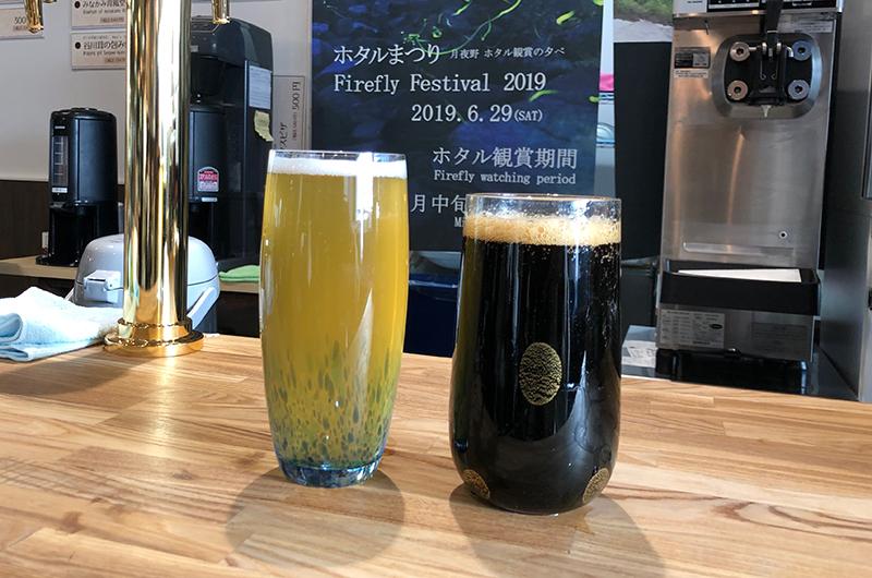 びーどろパークで作られた、個性的なグラスで提供されるビール