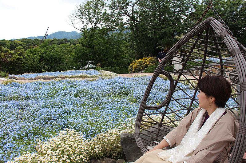 園内でくつろぐ筆者の母