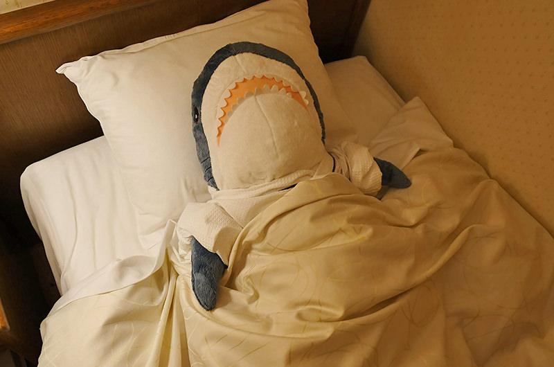 サメのぬいぐるみと眠る