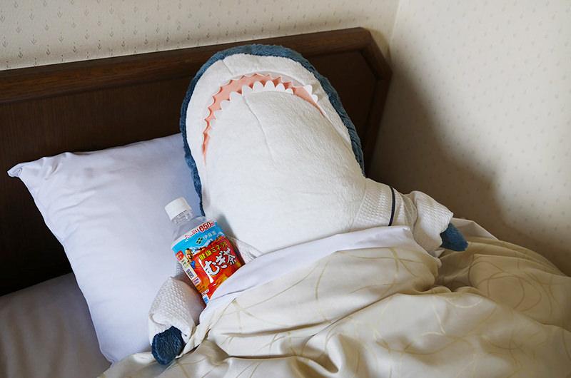 ホテルで眠るサメ