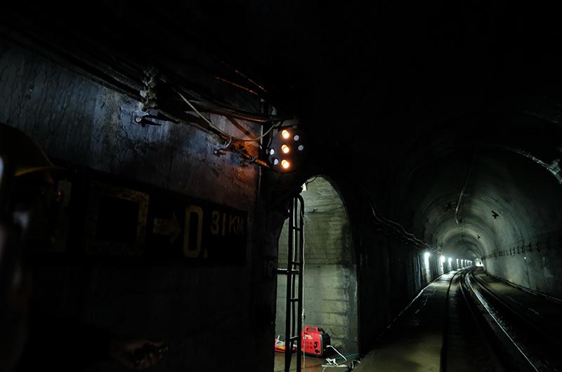 第3号トンネルでのライトアップ