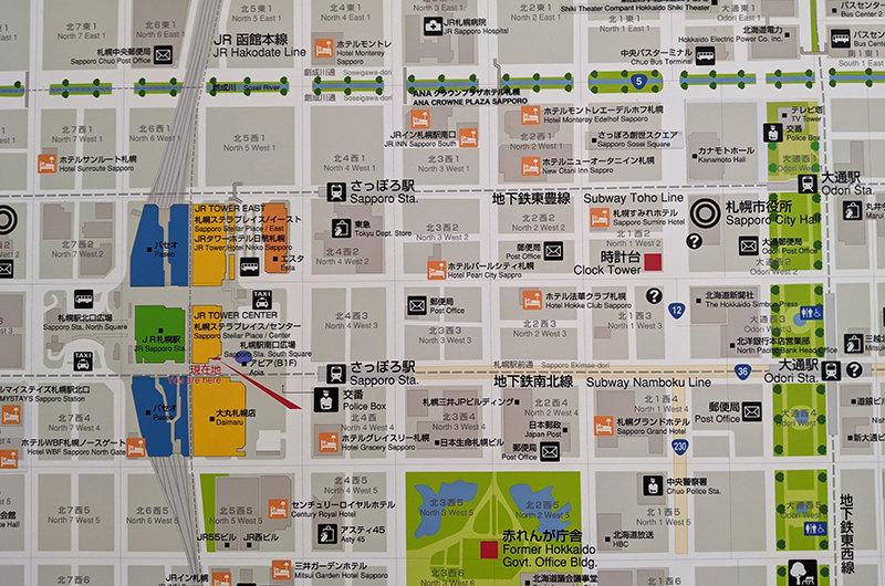 駅前の札幌市街地図