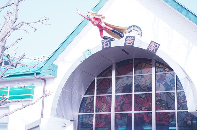 石巻駅舎 石ノ森先生のマンガのキャラクター像