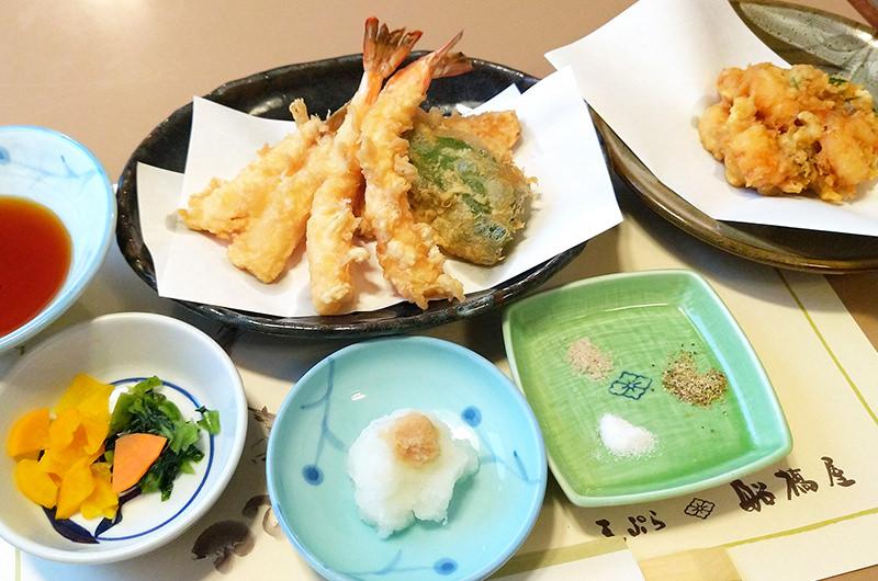 船橋屋 天ぷら7品 ごはん お味噌汁 香の物