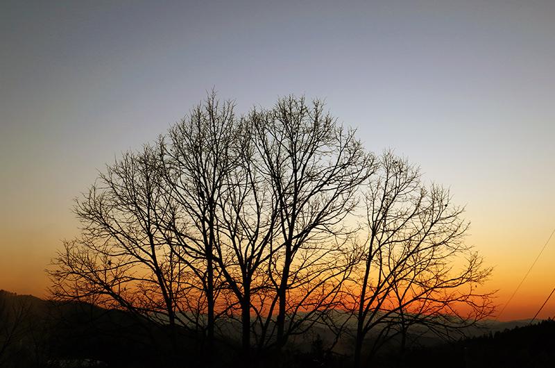 蔵王温泉バスターミナルからの夕日