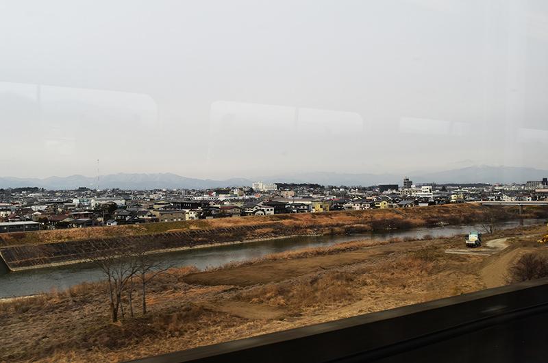 福島駅と白石蔵王駅間の車窓